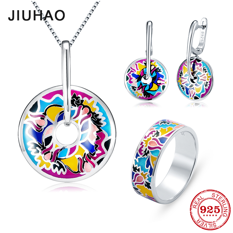 Jewelry set like flamboyant flower for women 925 Sterling Silver charms Fashion Ring pendant Earrings Party Colorful Enamel