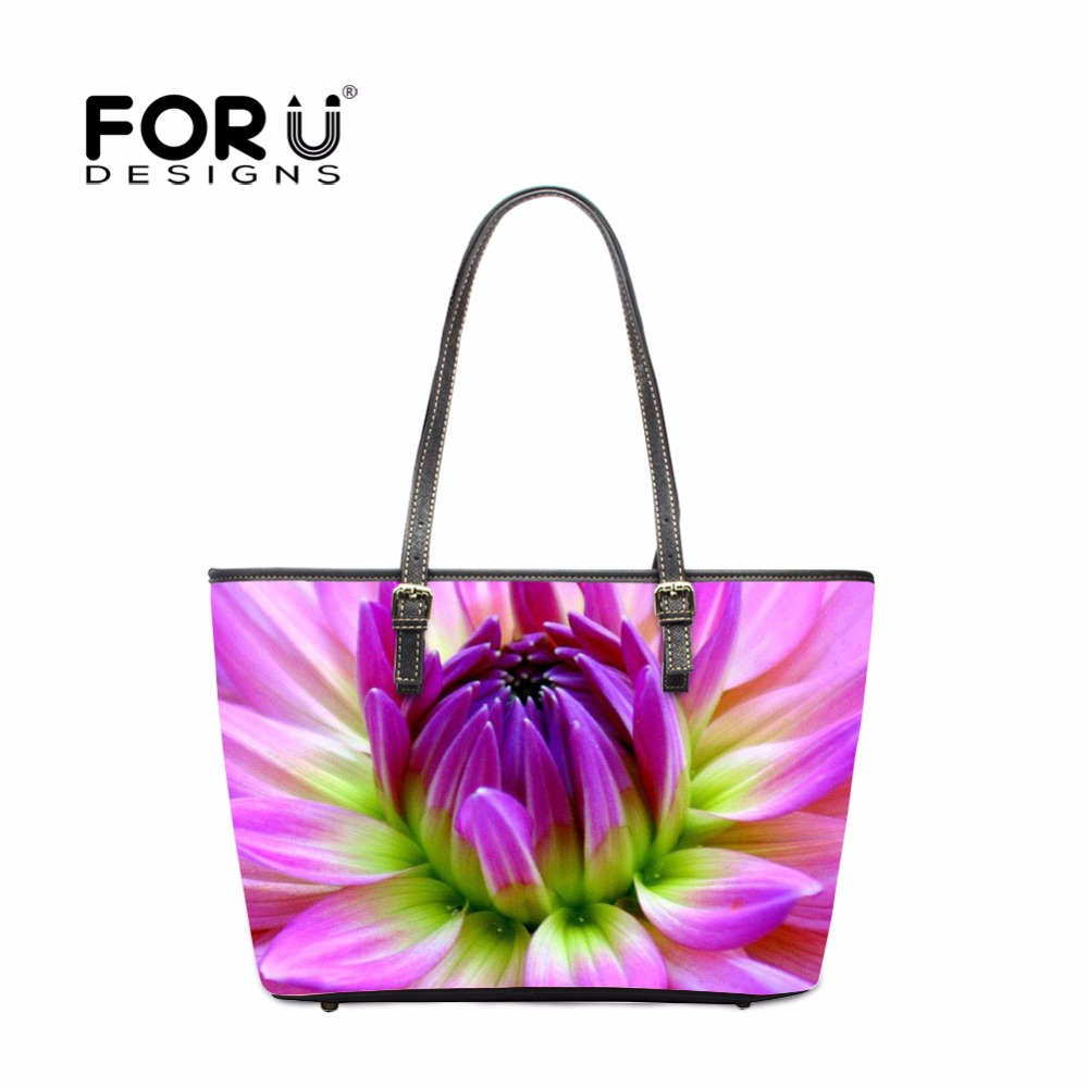 FORUDESIGNS Fashion Flower Women PU Leather Handbags Famous Brand Woman Tote Hand Bags Ladies Shoulder Beach Bag bolsos mujer