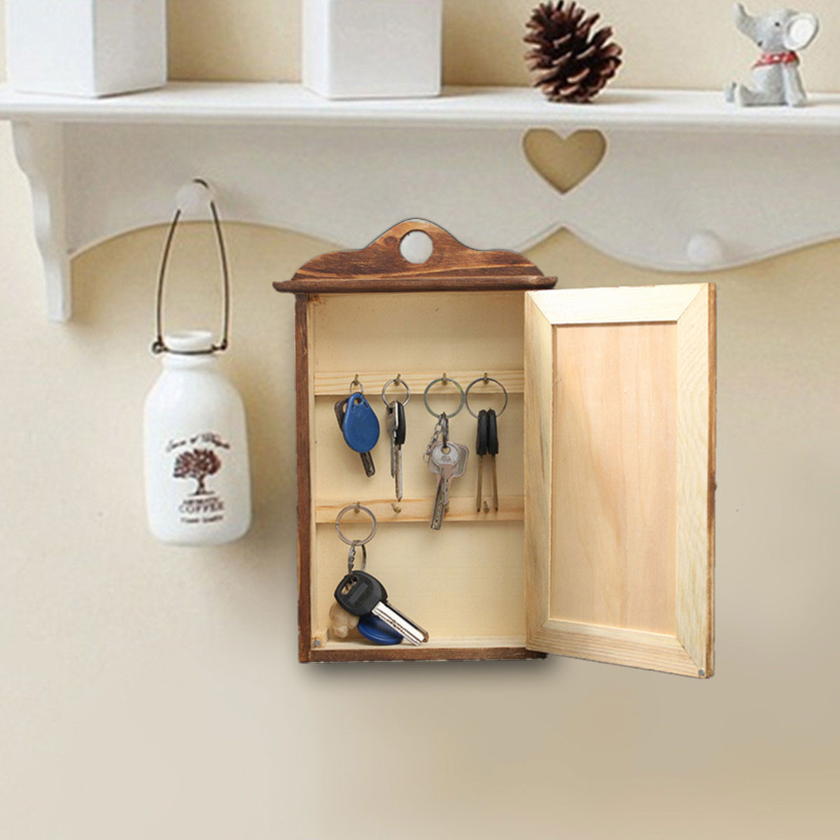 Wall hanging wooden box european retro keys storage with door wall hanging wooden box european retro keys storage with door accessories storage wall shelf fashion home decoration in storage boxes bins from home amipublicfo Images