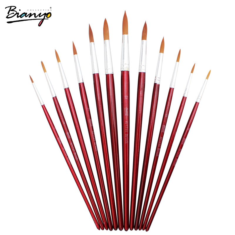 Bianyo 12pcs Different Size Round Tip Light Brown Synthetic Artist Brushes Set Red Wooden Handle Paint Brushes For Art Supplies