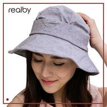 REALBY Summer sun hats Vintage Bow Summer Hats For Women Sun Visor Beach Hat Caps Casual