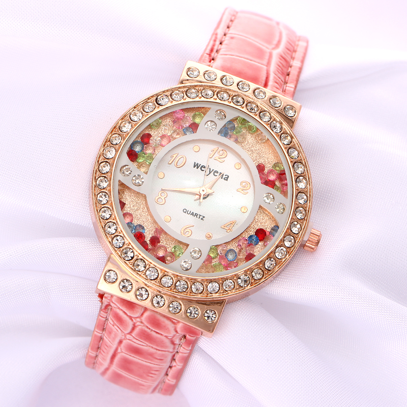 Sweet Cute Candy Pink Young Girl Watches Crystal Beads Luxury Rhinestone Ladies' Watches Relogio Feminino цена 2017
