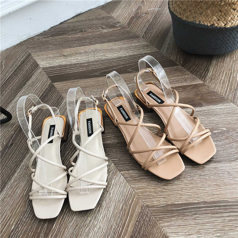 Summer trend cross straps Roman shoes girls small fresh rough with retro sandals women