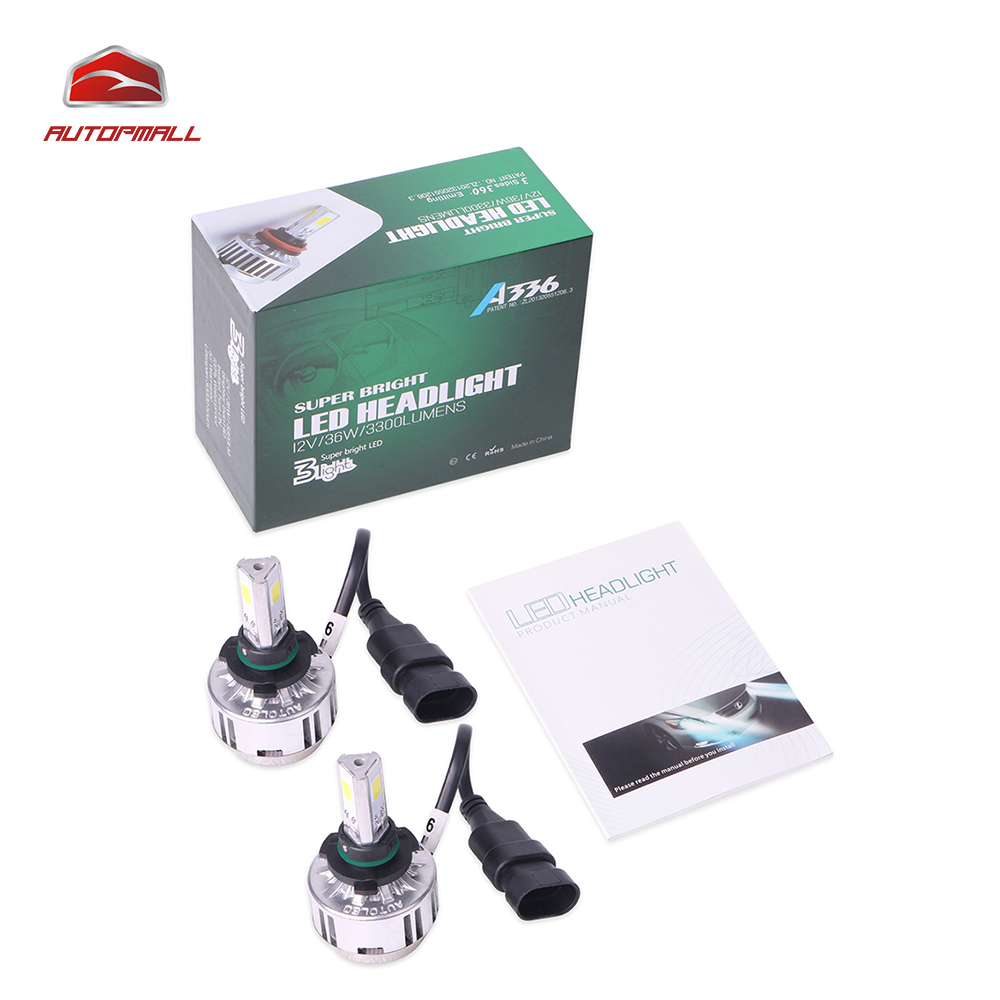 ФОТО All-in-One Car Headlights A336 9006 LED 9006 Bulb Waterproof Auto Front Bulb 36W 3300LM Automobiles Headlamp 6000K