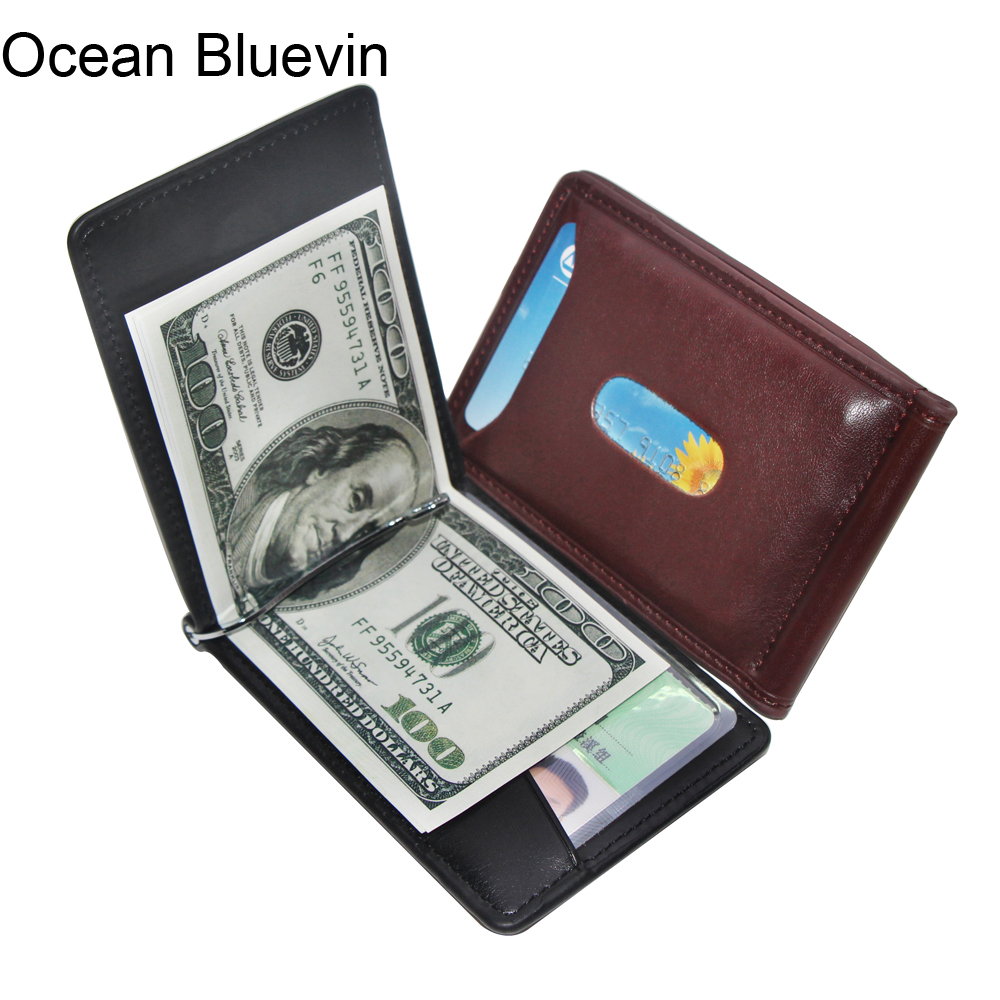 Ocean Bluevin Foreign Portable Men's Money Clips Wallet Black Brown Quality Fashion Soft 2 Folds ID Credit Card Bit Clip Cateira