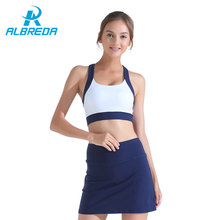 Фотография ALBREDA Women Solid color Yoga shirt and pant Sexy Sport Bra Quick dry Elastic Skirt Legging Female Gym Fitness Running Clothes