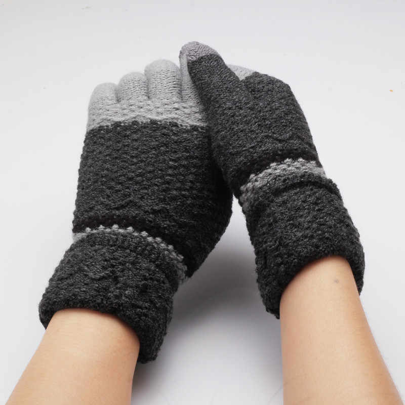 Women's Kids Winter Gloves Warmers Mittens Glove Knitted Full Finger Guantes Colorful Patchwork Warm Luvas