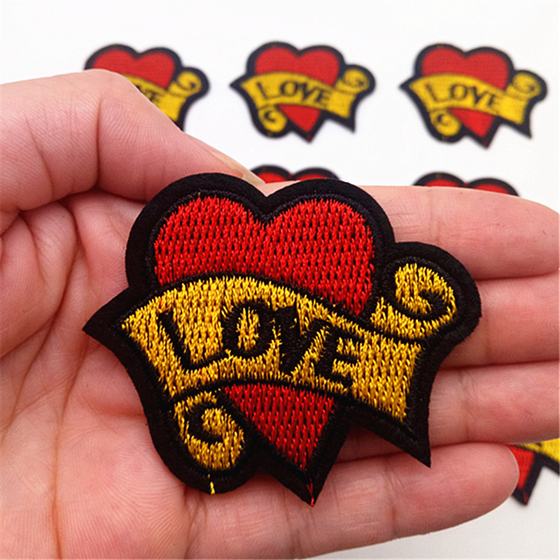 Diy Handmade Embroidered Patch: 10Pcs Love Heart Pattern Embroidered Patches Iron On Patch