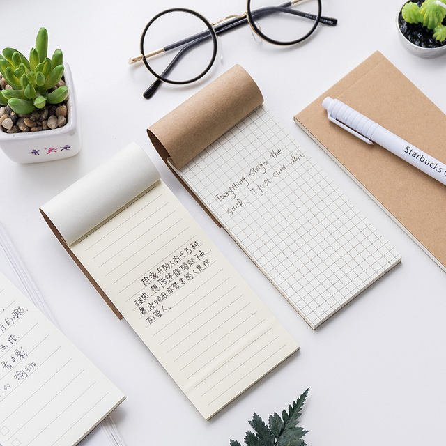 Jonvon Satone Crosses Blank Books Grid Books Stationery Tearing Practical Notepad Kraft Paper Notepad Small Notebook