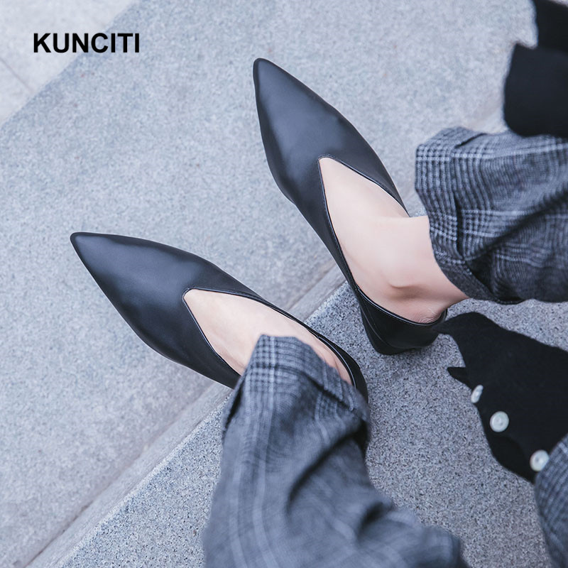 2019 KUNCITI Pointed Toe Women Leather Moccasins Slip On Ladies Pregnant Mules Shoes Genuine Leather Plus