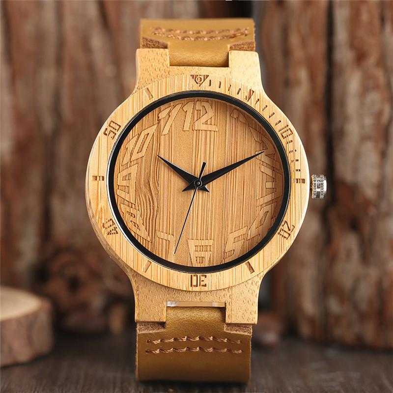 Watches Top Wooden Sphere Arabic Numerals Mens Genuine Leather Band Creative Modern Gift Women Bamboo Watch reloj de hombre 2017 hand made mens wooden bamboo quartz watch black genuine leather watchband simple unique modern wristwatch gift for male female