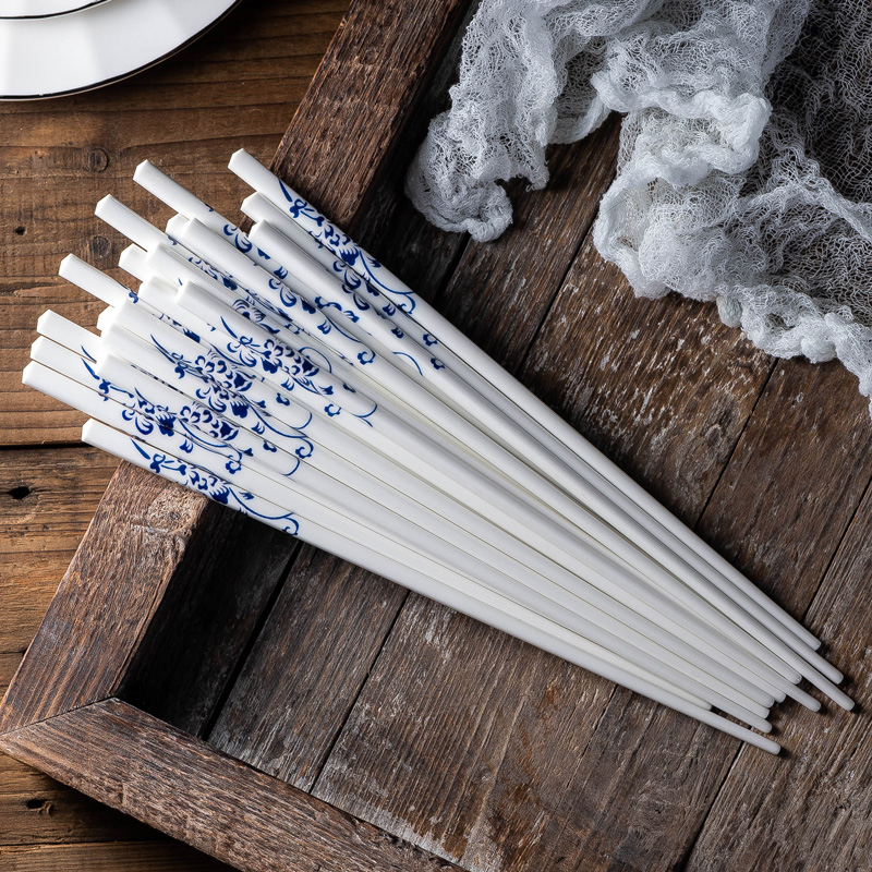 10 pairs lot Chinese blue and white underglaze ceramic chopsticks easy to clean health and variety