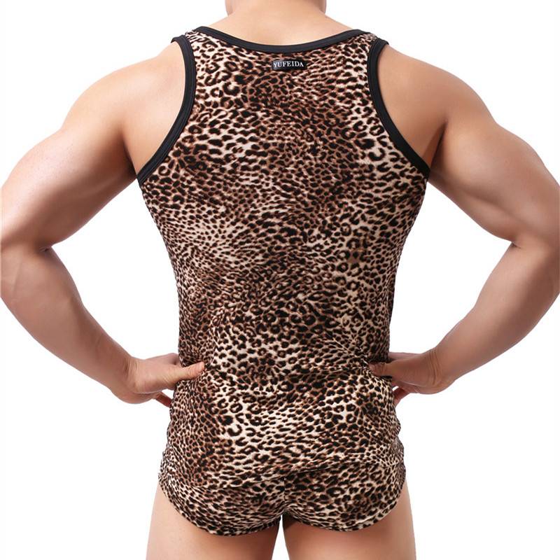1595d1d8d0da2f Товар 2PCS Set Vest   Underwrar Men s Sexy Sleepwear Set Leopard ...
