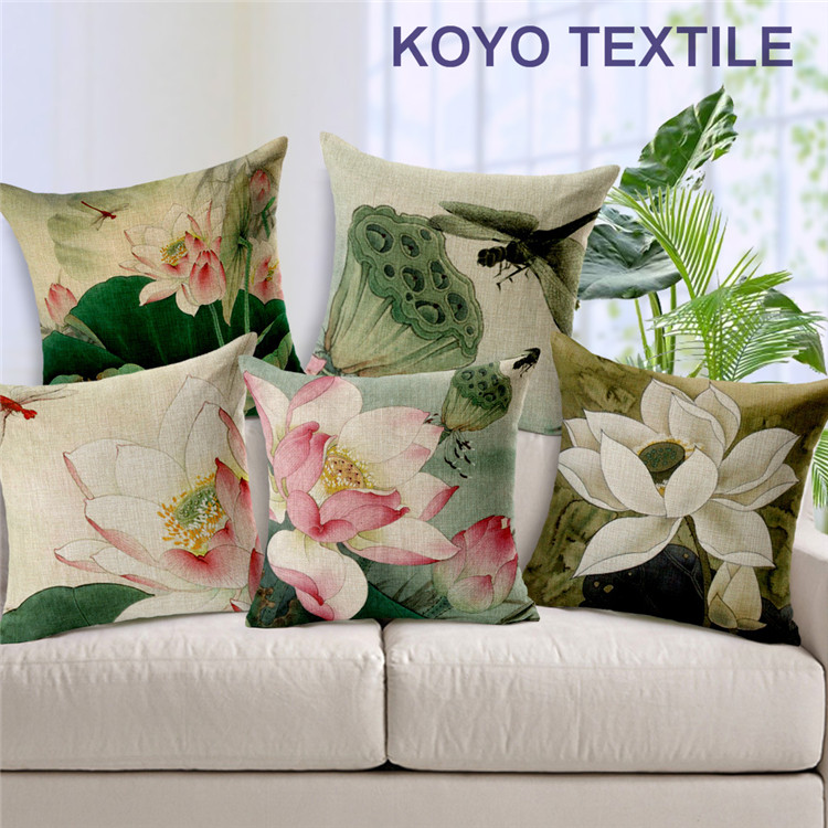 Decorative Printed Linen Vintage China Botanical Floral Lotas Wholesale Cute Gift Sofa Car Cushion Cover Throw Pillow Cover Case