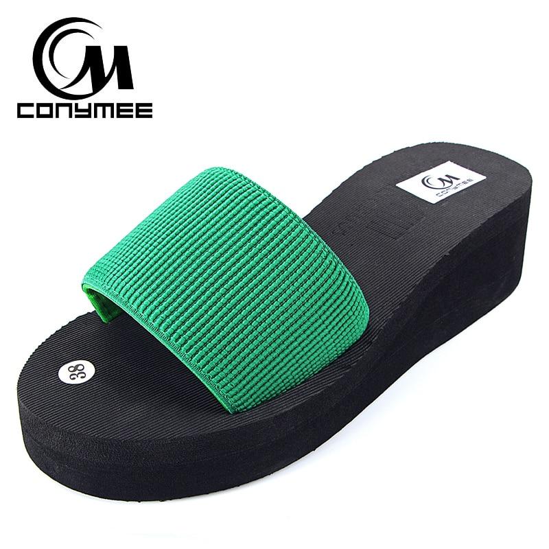 40db1f808b4 CONYMEE New 2018 Summer Platform Shoes Woman Sandals High Heel Home Slippers  Sandalia Feminina Wedges Flip Flops Indoor Slipper