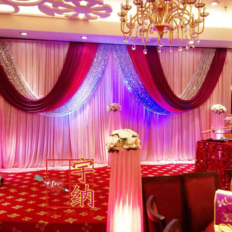 Nuevo 3 * 6 m lentejuela de plata roja telón de fondo de la boda de - Para fiestas y celebraciones