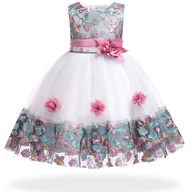 5cf991b1c5c Flower girl wedding dress for Kids embroidery Baby Girl Dress 3-10 Years  Girls Birthday