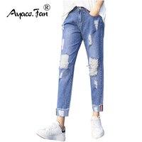 2018 kobiet Krzyż spodnie W Połowie Pasa Myte Denim Kostki Długości Spodnie Boyfriend Jeans Niebieski Cuffs Jean Femme Damskie Spodnie