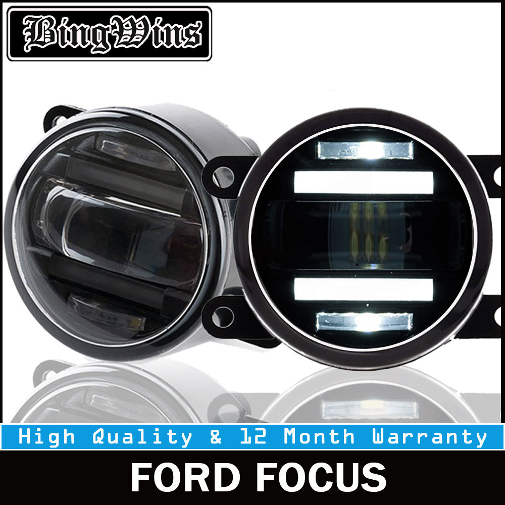 BEINGWINS 2009-2018 For FORD FOCUS foglights+LED DRL+turnsignal lights Car Styling LED Daytime Running Lights LED fog lamps boomboost 2 pcs car led for ford new focus 2012 2014 daytiime running lights car styling