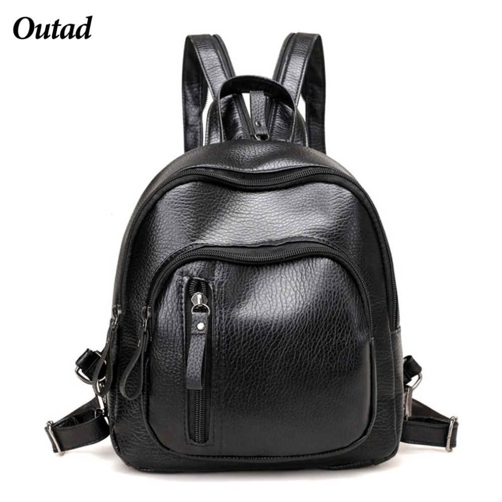 Small women backpacks small rivet zipper pu leather student backpack korean style backpack girls womens back pack runsuck