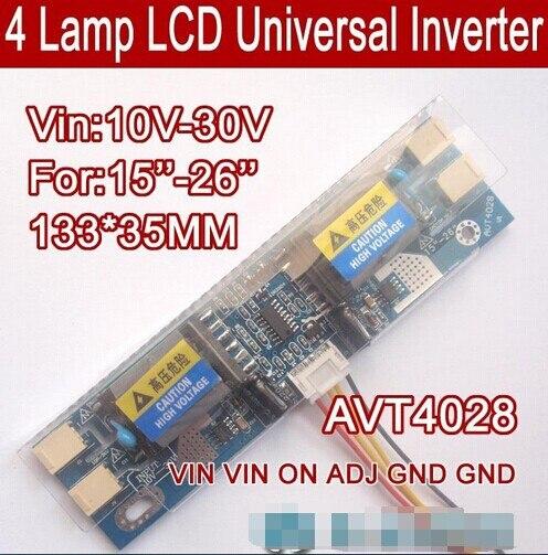 Free shipping 20PCS AVT4028 PC LCD MONITOR CCFL 4 LAMP universal lcd inverter board 4 Lamp