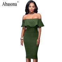 Abasona Off Shoulder Ruffle Women Pencil Dress Evening Party Dresses Tube Sleeveless Sexy Bodycon Dress Vestidos