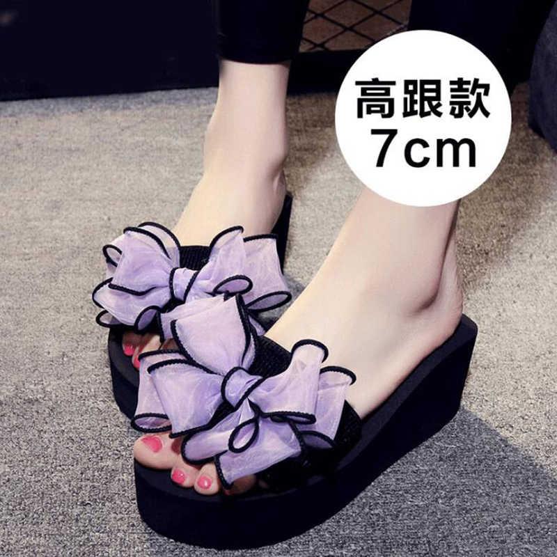 Kadın yay yaz sandalet terlik kapalı açık plaj ayakkabısı yaz kadın ayakkabısı flip flop platformu sandalia feminina c5