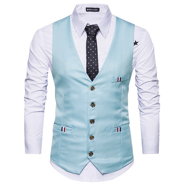 Classic Men Suit Vest Gilet Homme Costume 2017 New Casual Slim Fit Men Waistcoat Sleeveless V Neck Business Weeding Mens Vests