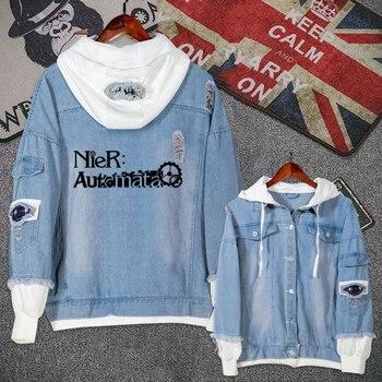 Аниме Нье: Automata игровая повседневная мужская куртка, джинсовое пальто, осенне-зимняя толстовка с капюшоном для мальчиков и девочек, Модная Д...