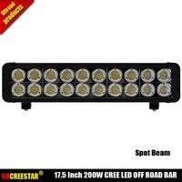 200W Straight Led off road light bar 17.5 20 leds Narrow beam used for 4x4 4wd suv atv truck car led work light x1pc freeship