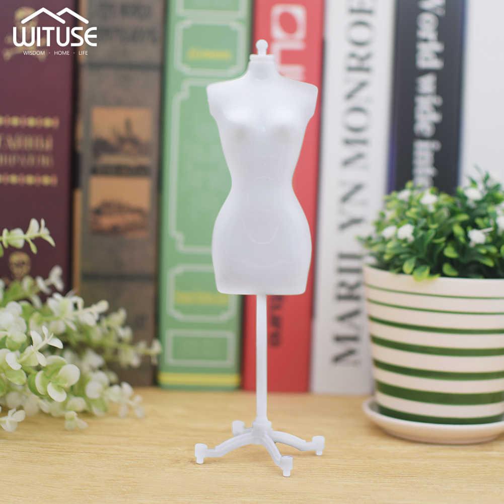 4 ピース/ロット新ファッション 22 センチメートル高さのためのおもちゃの人形のドレス服ガウンミニスタンドマネキンモデル白色