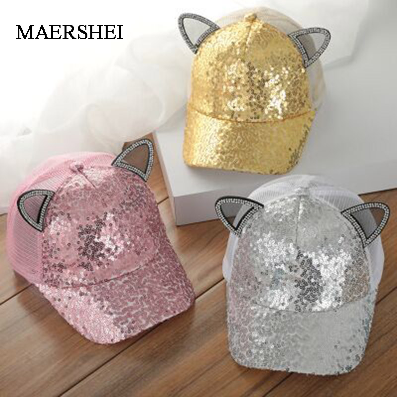 MAERSHEI Cute Girls Mesh   Cap   Sequins ears   Baseball     Caps   Children Snapback Summer Adjustable Kids hip hop hat   cap