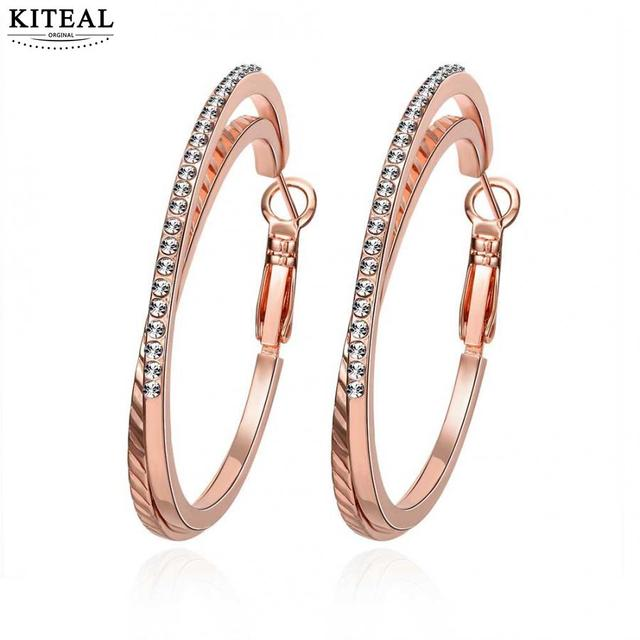 Kiteal 2017 New Arrival Double Circle Crystal Rose Gold Color Hoop Earrings For Women Earing Brincos
