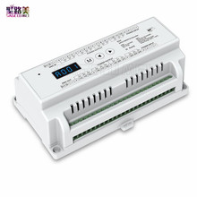 New D24 DC5V 24V input;;3A*24CH output display Din rail constant voltage 24 Channel 24CH CV DMX512 Decoder RGB Strip controller
