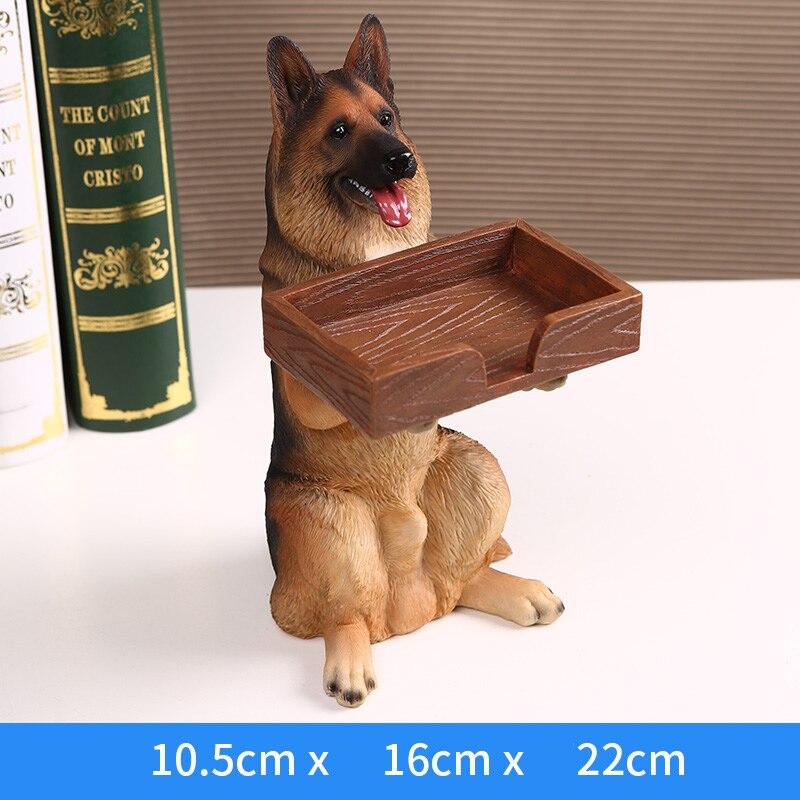 الإبداعية الراتنج الذئب الكلب النحت المفروشات تخزين بطاقة الأعمال حامل لطيف الحيوان الكلب التخزين ديكور المنزل-في التماثيل والمنحوتات من المنزل والحديقة على  مجموعة 3