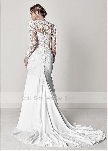 Modest V-Neck Lace Wedding Dresses Long Sleeve Illusion Appliques Mermaid Plus Size Bridal Gowns 2019 2