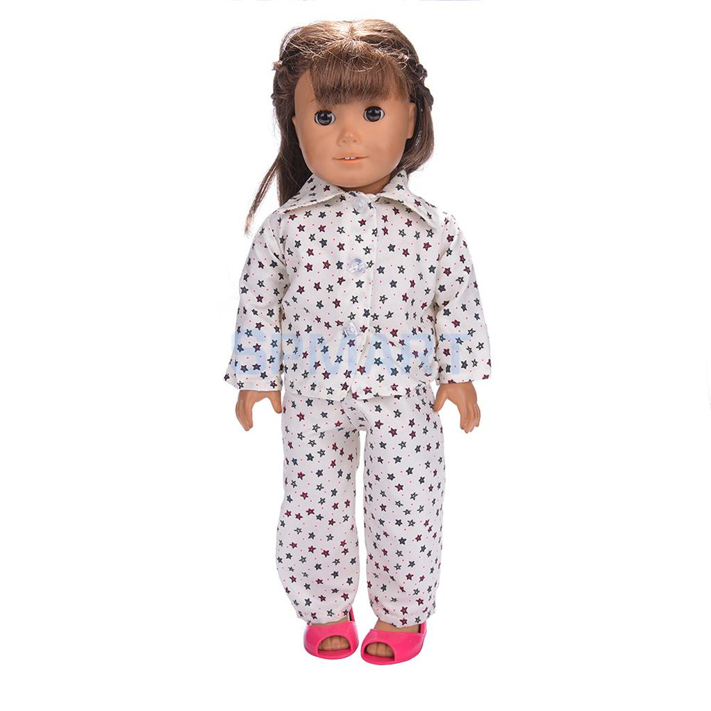 Doll-Pajamas-Nightgown-Sleepwear-Clothes-Outfit-Top-Pants-Set-for-18-inch-American-Girl-Doll-2