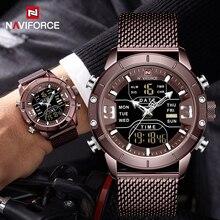 NAVIFORCE montre de sport pour hommes, nouveauté, de marque de luxe, en acier inoxydable, bracelet de sport militaire à double affichage, étanches