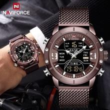 NAVIFORCE nowy top Luxury Brand męski zegarek sportowy ze stali nierdzewnej wojskowy podwójny wyświetlacz zegarki wodoodporne relogio masculino