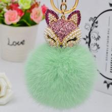 2016 New Gift Cute Bling Rhinestone Fox Real Rabbit Fur Ball Fluffy Keychain Car Key Chain Ring Pendant For Bag Charm Hotsale
