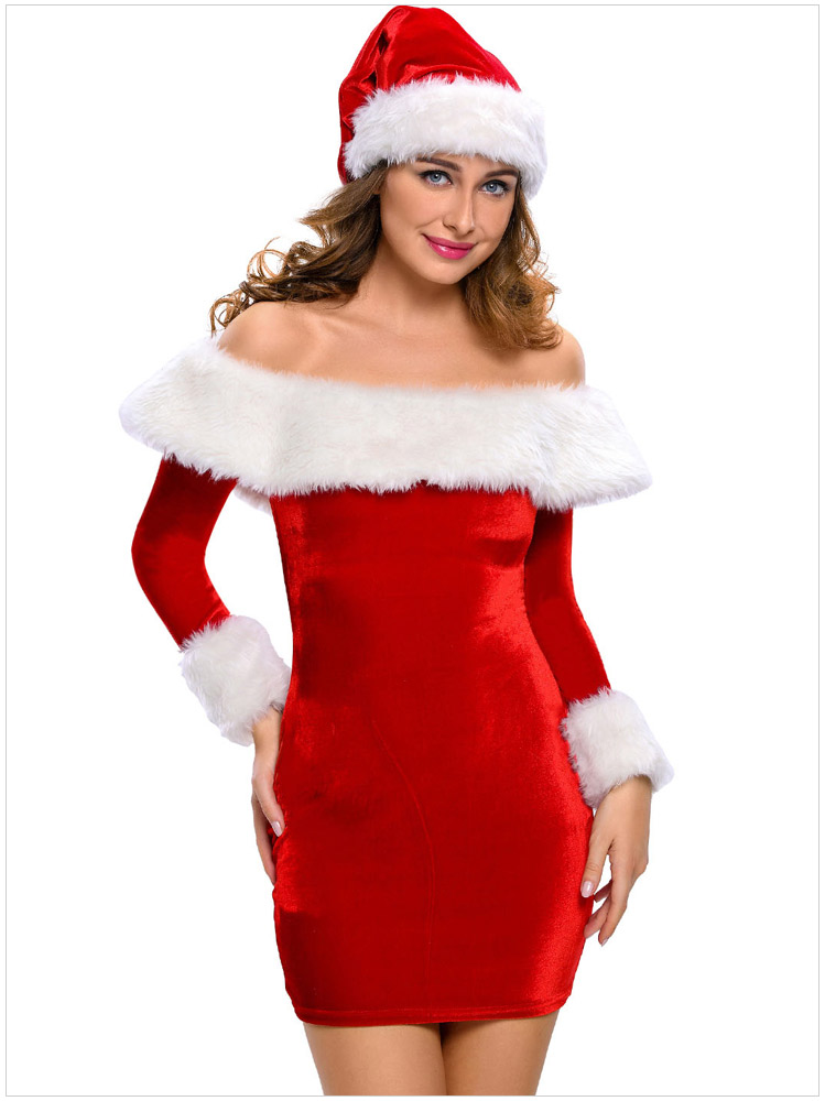 Good Quality Sexy Lingerie Christmas Strapless Dress Bodydoll Pajama Sets Perspective Christmas Costumes Exotic Apparel Women