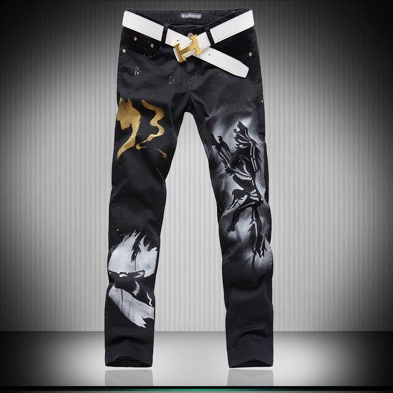 ФОТО Hot Men'S designers Jeans 3d wolf lim fancy mens jeans Pants Men's Gothic Trousers Male Long Jeans Black Pants MB16228