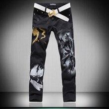 Горячие Мужские дизайнеры 3d волк лим необычные мужские джинсы Брюки мужские Готический Брюки Мужской Длинные Джинсы Черные Брюки MB16228
