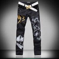 Hot Men S Designers Jeans 3d Wolf Lim Fancy Mens Jeans Pants Men S Gothic Trousers