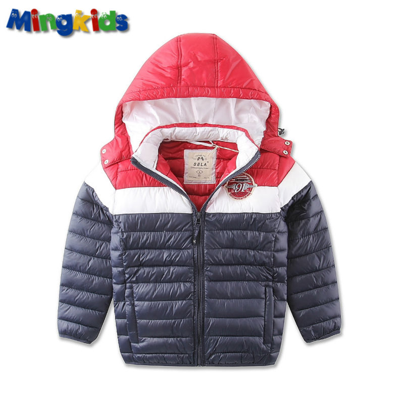 ФОТО Mingkids Outdoor puffy warm wadded jacket thermal hooded coat for boy Sport outwear Autumn Winter Parkas