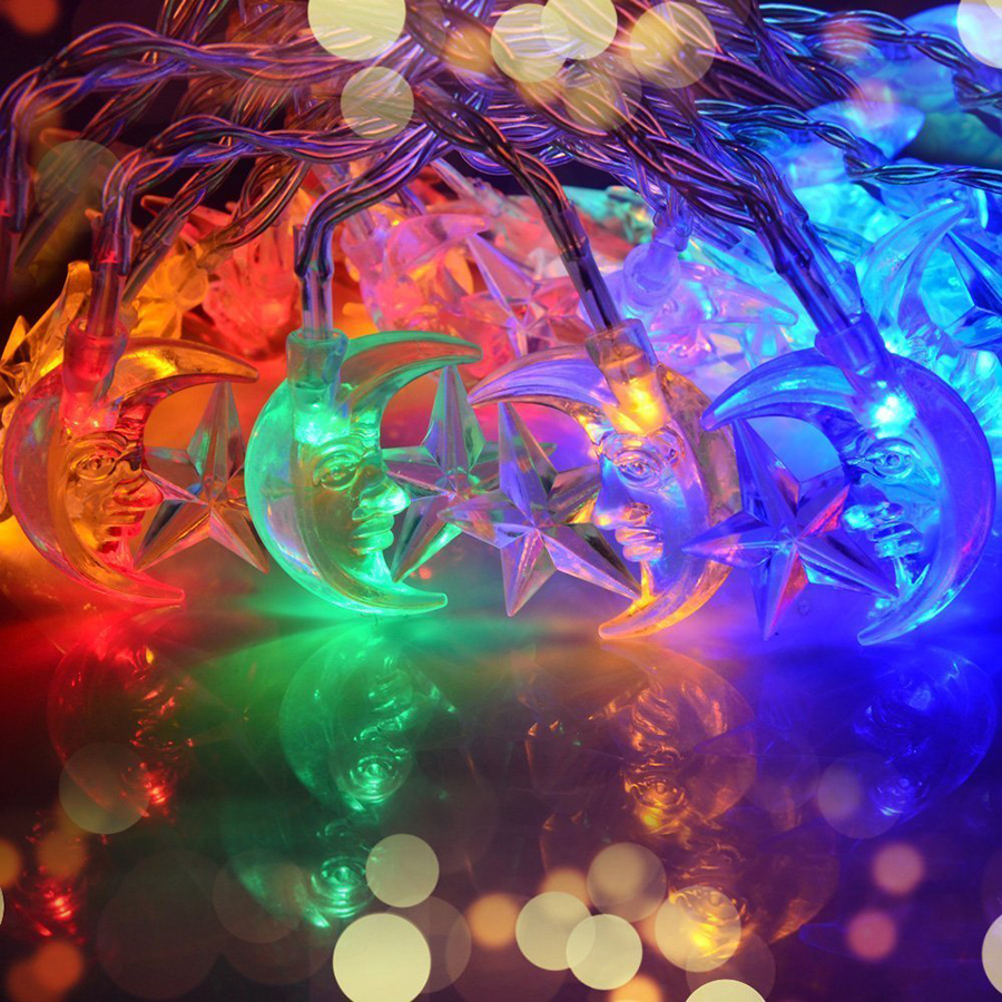 Multicolor 4M 20LEDs AC110/220V Stars&Moon Waterproof LED String Light Christmas Lights for Holiday Party Wedding Decoration
