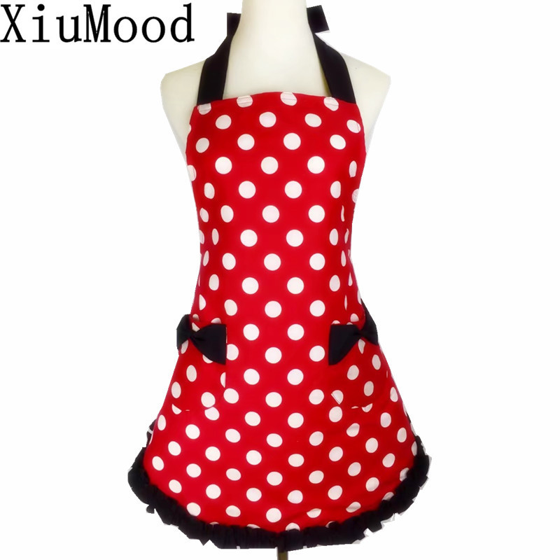 XiuMood Cute Black Lace Red White Dots Waterproof Kitchen Cooking Aprons For Women