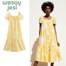New Fashion Bohemian Style Women Summer Casual Short Sleeve Bandage Yellow Evening Party Print women Dress