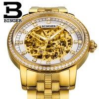 Роскошные Скелет Автоматическая любителей часы Self wind сталь золотые наручные часы сверкающие кристаллы для мужчин платье часы для женщин по