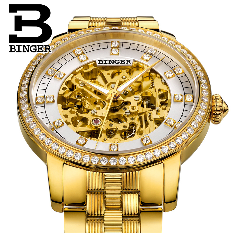 Luxury Skeleton Automatic Lovers Watches Self-wind Steel Gold Wrist Watch Sparkly Crystals Men Dress Watch Women Hollow Montre